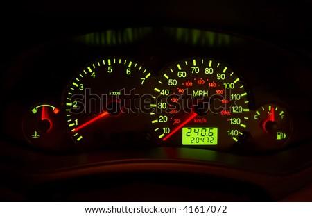 automobile instrument panel - stock photo