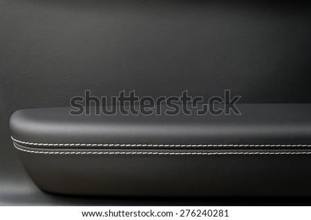 Automobile leather door panel. Interior detail. - stock photo