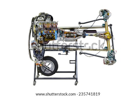 automobile motor with transmission isolated on white background - stock photo