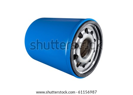 Automobile oil filter isolated on a white background.