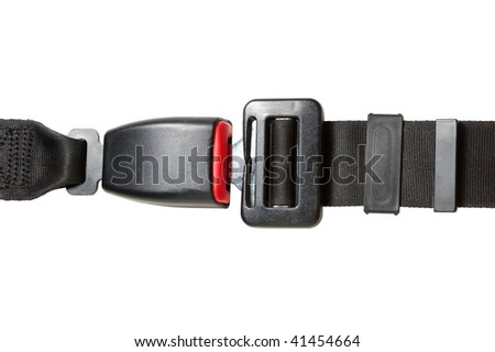 automobile safety belt isolated on a white background - stock photo