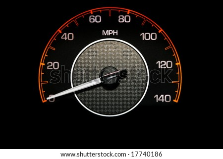 Automobile Speedometer on Black Background