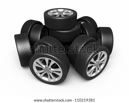 Automobile tires and wheels (3d rendering, isolated on white and clipping path) - stock photo