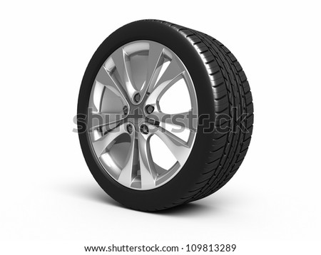 Automobile Tires and wheels render (isolated on white and clipping path) - stock photo