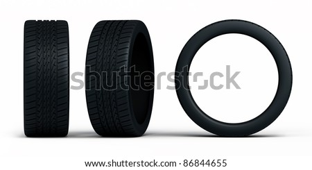 automobile tires front,side view (isolated on white and clipping path) - stock photo