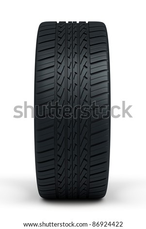 automobile tires (isolated on white and clipping path) - stock photo