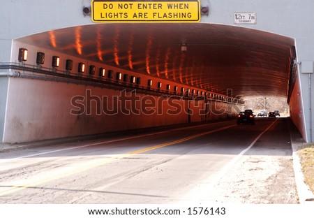 Automobile tunnel - stock photo