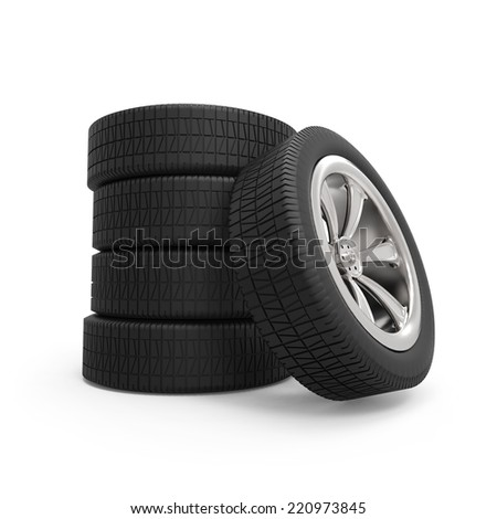 Automobile wheels stack isolated on white background. - stock photo