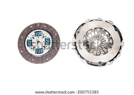 Automotive clutch kit isolated on white - stock photo