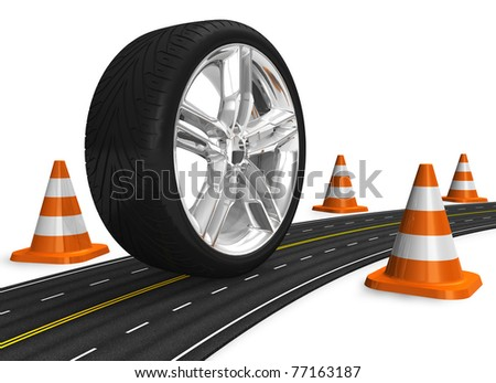 Automotive concept: car wheel on the road - stock photo