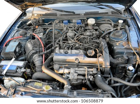 Automotive engine compartment, old car - stock photo