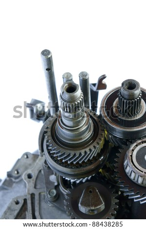 automotive gearbox component close up on isolated white background - stock photo