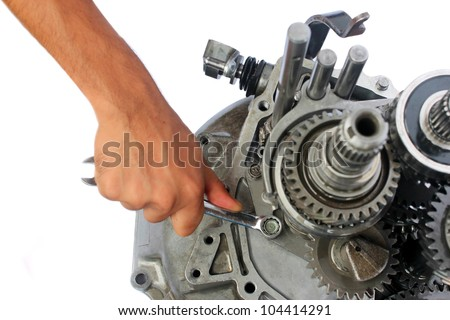 automotive gearbox repairing on isolated background - stock photo
