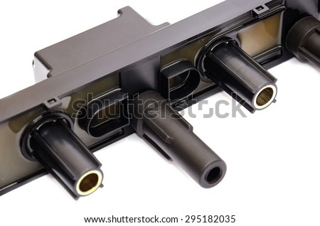 automotive ignition coil on white background - stock photo