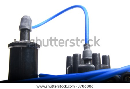 Automotive ignition tune up parts over white - stock photo
