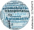 Automotive info-text graphics and arrangement concept on white background (word cloud) - stock photo