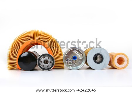 automotive oil filter isolated on white - stock photo