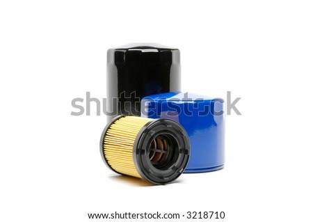 Automotive oil filter shot on white. - stock photo