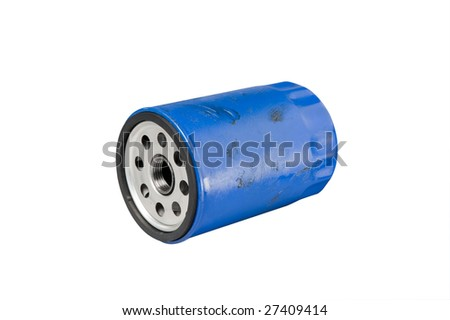 Automotive or small truck used oil filter. Clipping path on object. - stock photo