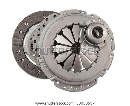 automotive part. automobile engine clutch. Isolated on white with clipping path - stock photo