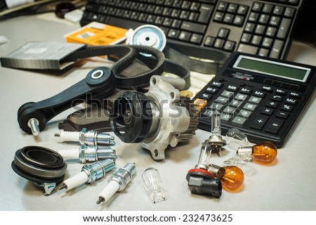automotive parts with shallow depth of field - stock photo