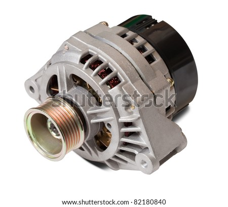 automotive power generating alternator. Isolated on white with clipping path - stock photo