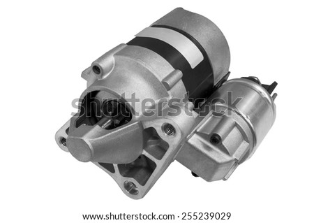 Automotive starter motor and solenoid - stock photo