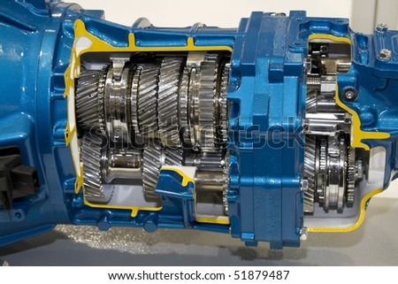 Automotive transmission gearbox with lots of details - stock photo