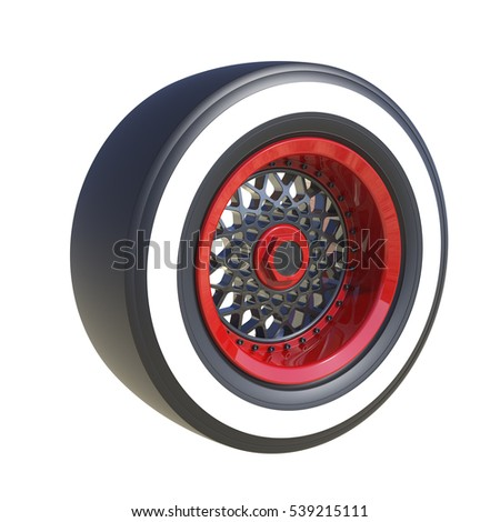 Automotive wheel isolated on white. 3D render