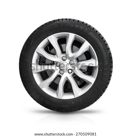 Automotive wheel on gray light alloy disc isolated on white background with soft shadow - stock photo
