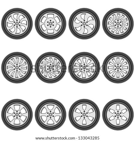 automotive wheel with alloy wheels,  illustration - stock photo