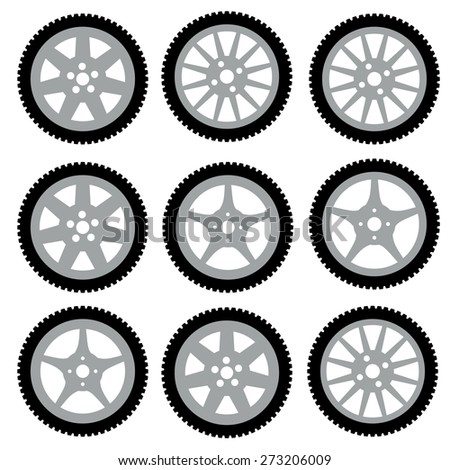 automotive wheel with alloy wheels.  illustration. - stock photo