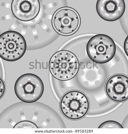 automotive wheel with alloy wheels. Seamless wallpaper. - stock photo
