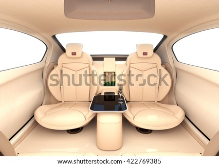 Autonomous car interior concept. Luxury interior serve cool drink service. 3D rendering image. - stock photo