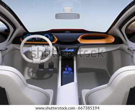 autonomous car interior concept center touch stock illustration 667385194 shutterstock. Black Bedroom Furniture Sets. Home Design Ideas