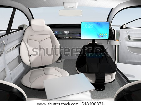 Autonomous car interior design. Concept for new business work style when moving on the road. 3D rendering image. Original design.