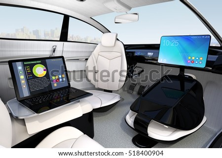 autonomous car interior design concept new stock illustration 518400904 shutterstock. Black Bedroom Furniture Sets. Home Design Ideas