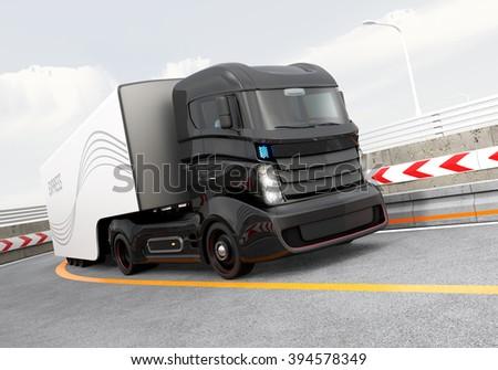 Autonomous hybrid truck driving on highway. Original design. - stock photo