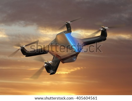 Autonomous unmanned drone with surveillance camera flying in sunset sky.   3D rendering image in original  design. - stock photo