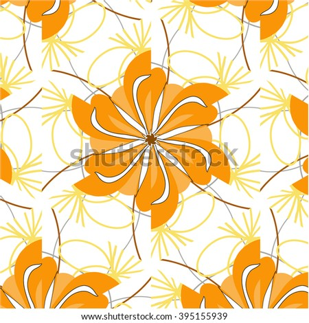 Autumn abstract floral background in yellow and orange - stock photo