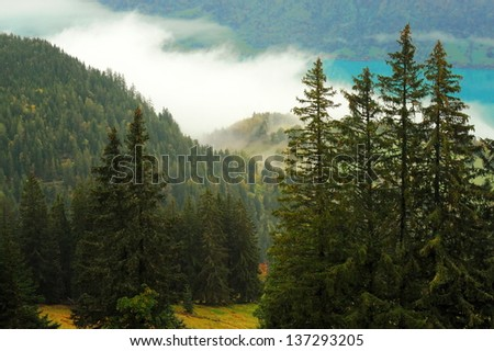 Autumn Alps in Switzerland, a beautiful autumn landscape
