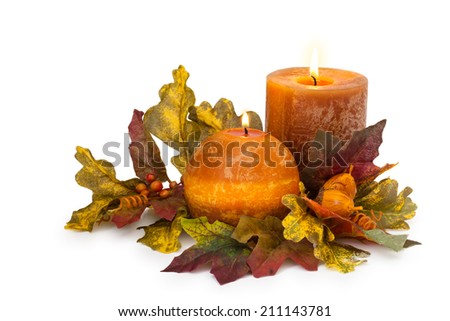 Autumn arrangement with candle  - stock photo