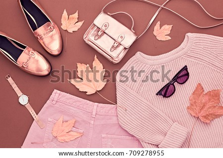 Autumn Arrives. Fashion Lady Clothes Set. Trendy Cozy Jumper. Fashion Stylish Gold Handbag Clutch, Glamour Sunglasses. Flat lay. Fall Leaves. Vanilla Pastel colors.
