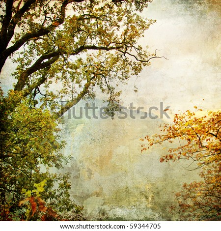 autumn - artwork in painting style - stock photo