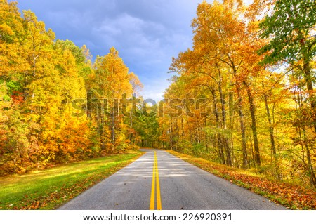Autumn at Blue Ridge Parkway. - stock photo