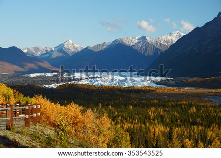 autumn at matanuska glacier in alaska