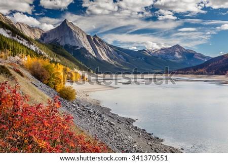 Autumn at Medicine Lake, Jasper National Park, Alberta, Canada - stock photo