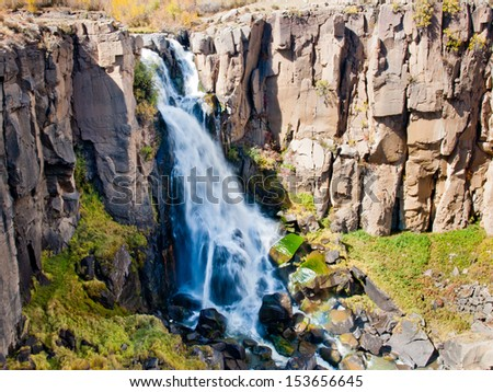 Autumn at North Clear Creek Water Falls in Colorado. - stock photo