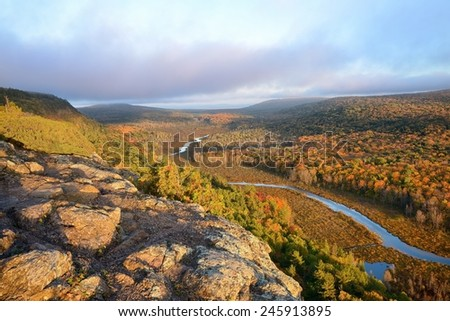 Autumn at Porcupine Mountains State Park Upper Michigan - stock photo