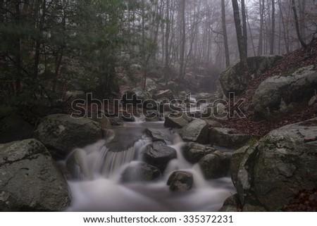 Autumn at river Montseny, Catalonia , Spain - stock photo